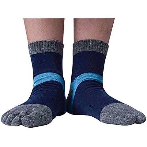 Calcetines para hombre Auxma 1 Par de hombres Deportes Gimnasio rayas de color mezclada que se ejecuta a cinco calcetines del dedo del dedo del pie (B)