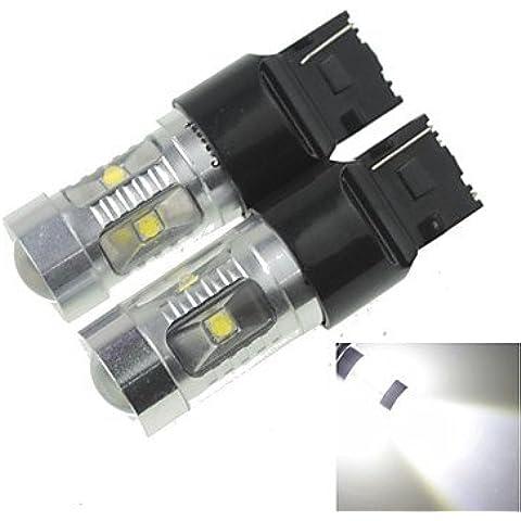 FULLModerna lampadina auto 2x T20 7440 W21W W3X16D 30W 6x bianco freddo 2100LM 6500K segnale (Girata Del Lato Del Segnale Indicatore Luminoso)