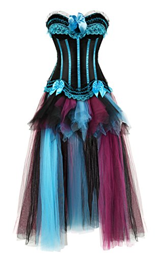 Blau Korsett Kostüm - Grebrafan Corsage Streifen Korsett Reißverschluss und Lang Tutu-Rock aus Tüll (EUR(42-44) 3XL, Hellblau)