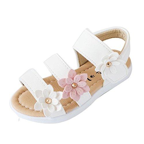 Blume Babyschuhe,Kleinkind Kinder Mädchen Party Schuhe Flach Prinzessin Shoes Lauflernschuhe Offene Sandaletten Rutschfest Sommerschuhe Strandschuhe (22, Weiß) ()