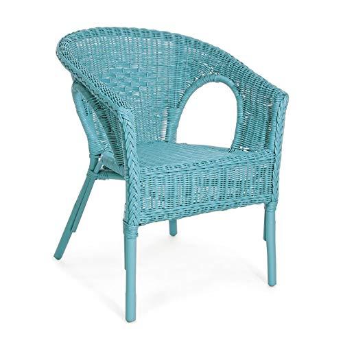 ARREDinITALY 4er Set Gartensessel aus Rattan mit Flechtgeflecht in blau