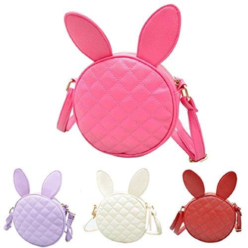 BZLine® Frauen Mädchen Kaninchen Ohr runden Leder Handtasche Umhängetasche Taschen, 16*16*6cm Weiß