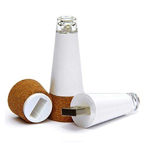 Vpsan Premium USB Powered wiederaufladbare Cork helle LED Wein Flasche Licht für Parteien Home Dekoration, Weinliebhaber (Weiß),2 Stück (Usb-powered-licht)