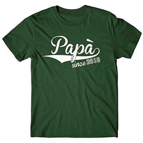 LaMAGLIERIA T-Shirt Uomo papà Since 2018 - Maglietta Idea Regalo Festa del papà 100% Cotone, S, V