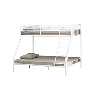 3ft Single & 4ft6 Double Triple Metal Bunk in White with 2 Basic Budget Mattresses