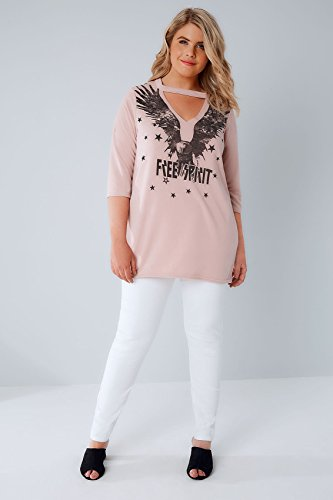 Yours Clothing - Sweat-shirt - Slogan - Manches Courtes - Femme rose rose Rose