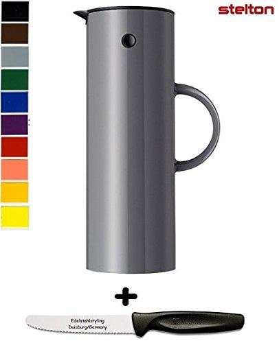 Stelton Isolierkanne Thermoskanne 1 l + Edelstahlstyling Universalmesser GRATIS (1 L, Granit grau)