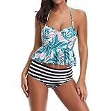 VRTUR Ensemble De Bikini De Femmes,Femmes Bohemia Point d'impression Baignade Faire Monter Taille Haute Halter Vintage Push Up Shorty Soutien-Gorge Beachwear Maillots De Bain(M,Vert-A)