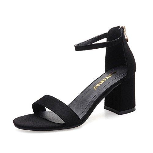 MeiMei Sandalen Frauen mit Dicken mit Wilden Dew-Slotted Befestigungselemente, Die Schuhe High-Heel