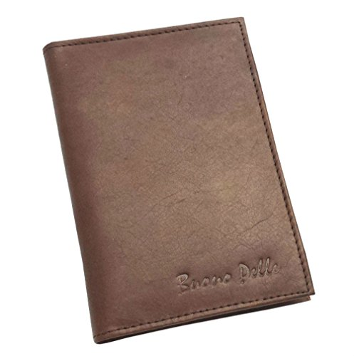 Buono Pelle - Cartera para pasaporte de piel  Marrón marrón