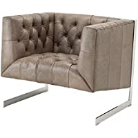 Casa Padrino Chesterfield luxury leather armchair Manhattan Vintage Leather Grey - Club (Leather Club Chair)