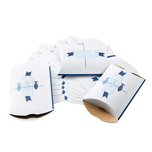 25 Stück kleine Geschenkboxen Geschenkschachtel 14,5 x 10,5 + 3 cm Blau weiß türkis mit 3 Fische maritime mini Verpackung Tischdeko Tischschmuck Geschenk Kinder-Geburtstag Kommunion Hochzeit