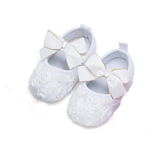 Longra Nouveau née Bébé Fond doux Antidérapant Fleur Chaussures (Taille: 13, Noir) Blanc