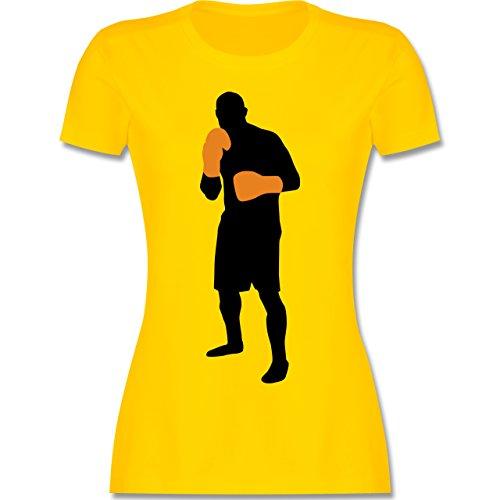 Kampfsport - Box Grundstellung - tailliertes Premium T-Shirt mit Rundhalsausschnitt für Damen Gelb