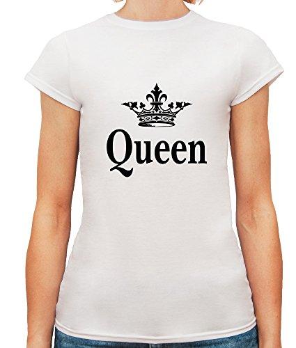 Mesdames T-Shirt avec Queen and Crown Illustration imprimé. Blanc