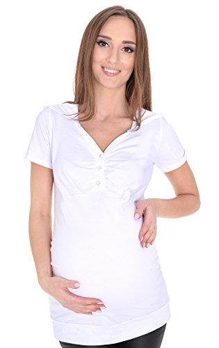 Mija - 2 en 1 Maternité et allaitement Blouse confortable ? manches courtes 3080 (EU 36, Blanc)