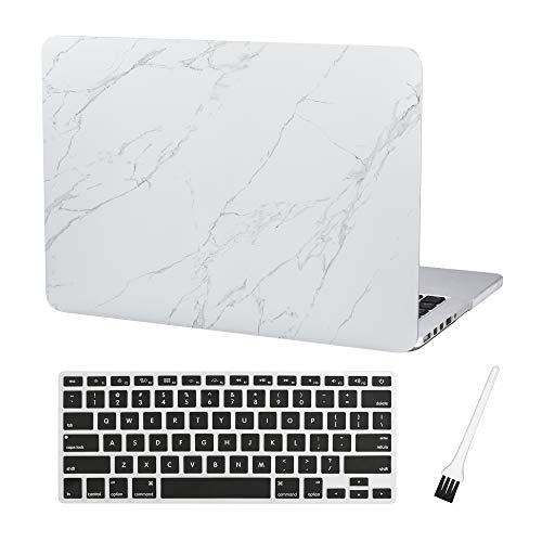 A1425 A1502 Schutzhülle für 33 cm (13 Zoll) MacBook Pro A1425 A1502, aus Kunststoff, matt, gummiert, mit Tastaturschutz und Staubbürste, Weiß