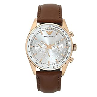 Emporio Armani Mens Chronograph Leather Watch – AR5995I_Brown_Free Size