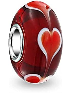 Bling Jewelry Murano Rotes Herz aus Glas Bead Sterling-Silber