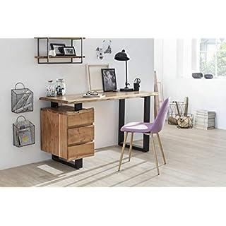 Sit Möbel Albero Schreibtisch Platte Akazie mit Baumkante, Beine Metall L = 147 x B = 62 x H = 80 cm Platte Natur, Beine schwarz