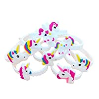 Pack of 48 Unicorn Bracelets Wristbands for Birthday Party Supplies Favors, Novelty Toys and School Classroom Rewards