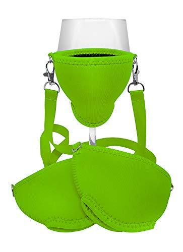 WineHolder Eff Em Concept Weinglas-Halter für den Hals, Weinglashalterung inkl. Halstrageband (Lanyard) (Grün 3er Set)