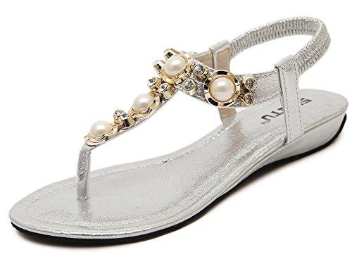 Fortuning's JDS sandali con zeppa moda elegante in rilievo per le donne e le signore Argento
