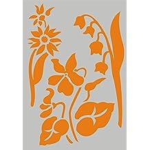 Stencil Plantilla para DIY proyectos/Flores A5148x 210mm