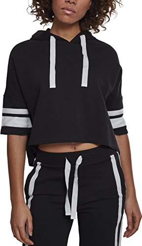 Urban Classics Damen Kapuzenpullover Ladies Taped Short Sleeve Hoody, Schwarz (Black/White 00826), Small (Herstellergröße: S)