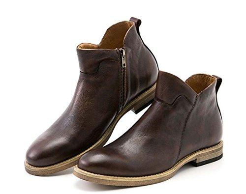 Martin Stiefel Leder Retro Herren Schuhe Britische Casual Handgefertigte Leder Boot Breathable Chic Flache Stiefel ( Color : Brown , Size : 38 ) (Brown Faux-pelz-stiefel)