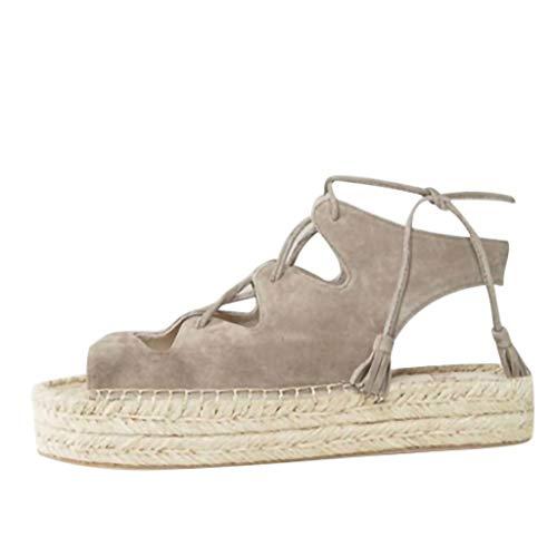 Louyihon-Summer Women's Wedge Open Toe Shoes Fashion Ankle Cross-Strap Fish Mouth Sandals Saltwater Sandals Salt Water Damen Platform Fantasy(Schwarz,Blau,Grau) (Grau, 38)