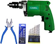 CAMEL BRAND 10mm Electric Drill Machine with 13Pcs Metal/Wood Drill Bit & 5Pcs Wall bit & 1Pc Piler (c