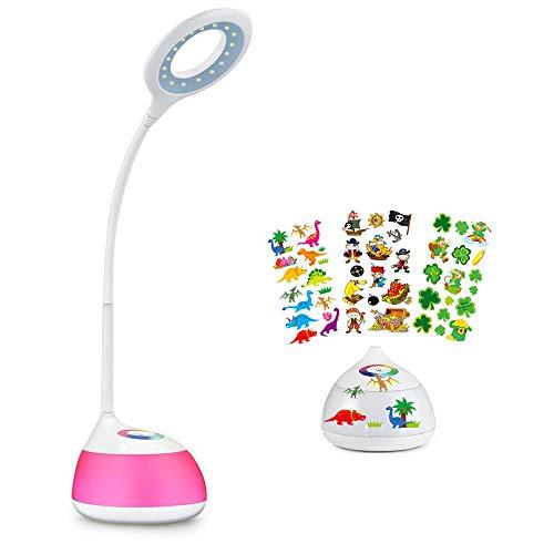 hihigou Bunte Dimmbare Schreibtischlampe LED Tischlampe 3 Helligkeitsstufen (Lesen, Lern, Entspannung) Flexibles Arm Touchfeldbedienung menit USB-Anschluss modern tischleuchte LED (wei?')