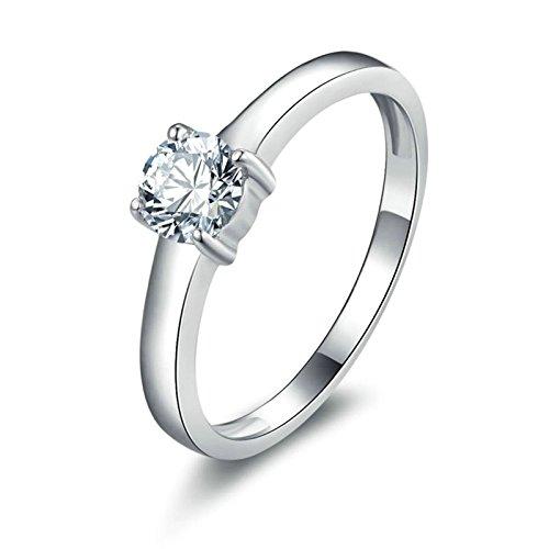 Bishilin Sterling Silber Ring Damen Boho 4-Steg-Krappenfassung Rund Brillant Weiß Zirkonia Trauring Verlobungsring Silber Gr.58 (18.5)
