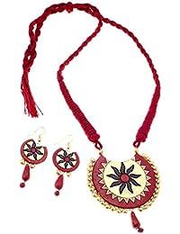 More Bangla Women's Pride Puja Bahaar Terracotta Jewellery Set (Maroon)