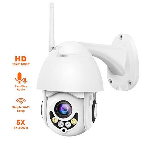 TONGTONG Outdoor WiFi Überwachungskamera, 5X Zoom 1080P Wireless Dome PTZ AP Modus Auto Tracking IP CCTV Kamera mit Zwei-Wege-Audio Auto-tracking Ptz