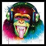 Bild mit Rahmen Patrice Murciano - DJ Monkey - Holz schwarz, 30 x 30cm - Premiumqualität - Turbo-Versand - Pop Art, Disc Jockey, Affee, Schimpanse, Kopfhöhrer, Zunge, frech, witzig, Humor, Leuchtfarben - MADE IN GERMANY - ART-GALERIE-SHOPde