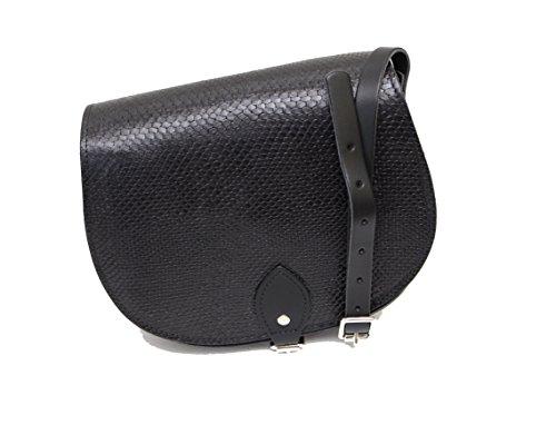 Damen Handtasche Sattel (Schwarz Schlange gemustert Echtes Leder Sattel Crossbody Handtasche mit Schnalle und verstellbaren Trageriemen)