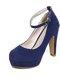 TOOGOO (R) Mujer del tacon alto de la plataforma del estilete con la correa del tobillo de la hebilla zapatos de tacon alto de imitacion gamuza Azul - 38