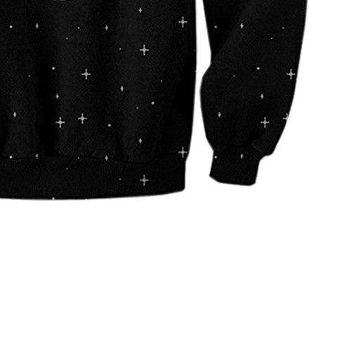 JOLIME Herren Sweatshirt Pullover Pulli Sweats mit Astronauten Sterne Aufdruck Langarm Top Schwarz