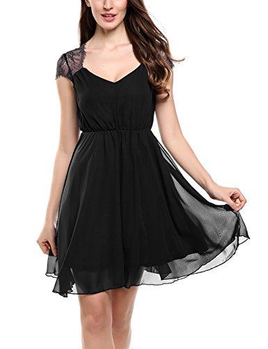Zeagoo Damen Elegant Sommerkleid Chiffon Kleid Festliches Cocktail Party Mini Kleid mit Spitze Kurz A Linie Schwarz S