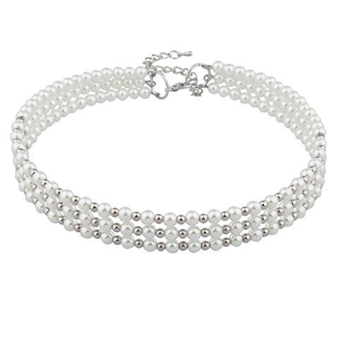 Lux Accessories - Collana a collare, con perle finte, con filo metallico a memoria di forma, misura media