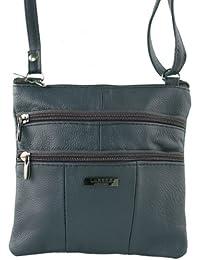 Lorenz Ladies Small Genuine Soft Leather Cross Body / Shoulder Bag (1) # 1941 - Navy