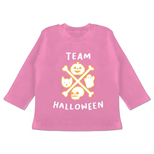Anlässe Baby - Team Halloween - 6-12 Monate - Pink - BZ11 - Baby T-Shirt Langarm