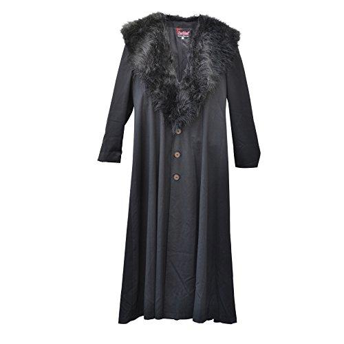 Zoelibat 30003024.008l–Mujer Gótico Steampunk abrigo de pelo sintético con cuello, wadenlang, tamaño L, color negro