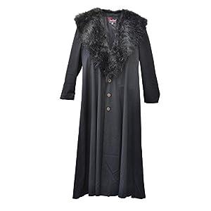 Zoelibat 30003024.008l-Mujer Gótico Steampunk abrigo de pelo sintético con cuello, wadenlang, tamaño L, color negro