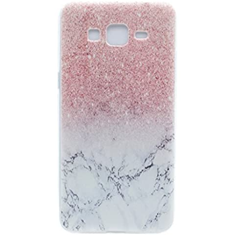 Skitic Elegante e Leggera Trasparente Protettivo Skin Custodia per Samsung Galaxy Grand Prime G530, Patterns Series Crystal Morbido Flessibile TPU Silicone Gel Case Cover per Samsung Galaxy Grand Prime G530 - Marmo