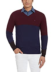 Louis Philippe Mens Woollen Sweater (8907545555335_LPSW516M18160_XX-Large_Dark Pink With Blue )
