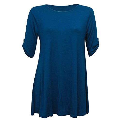 Da donna Plus size tasto Turn a maniche corte svasato Swing abito lungo top. Regno Unito 8–22 Teal