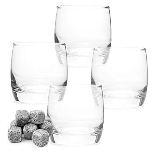 Lantelme 6679Lantelme Lot Plaisir Lot de 4verres à whisky et 9Pierre pour whisky–verres à whisky–Pierres Set